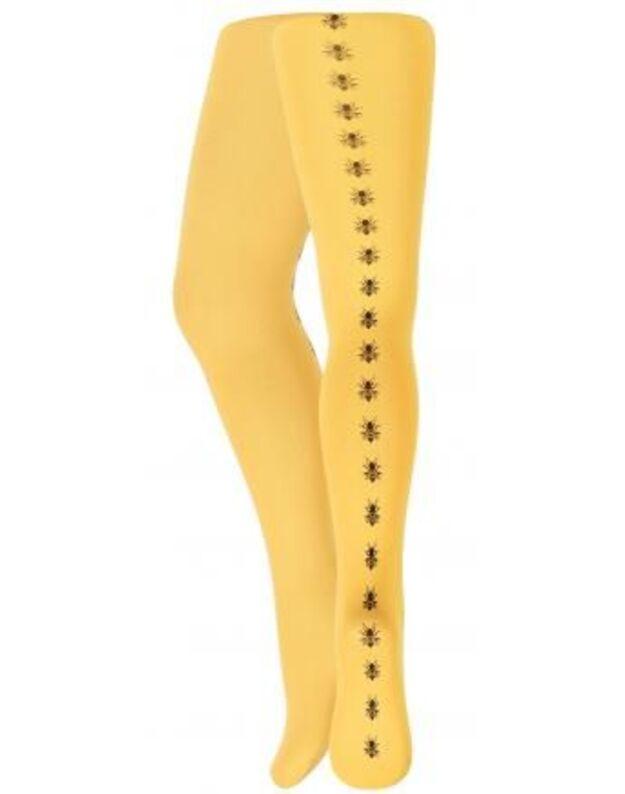 Ryškios geltonos, vaikiškos pėdkelnės su bitutėmis. 104/110cm., 116/122cm
