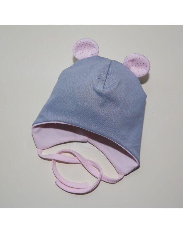 Dviguba, žaisminga medvilninė kepurytė. 40, 44 cm